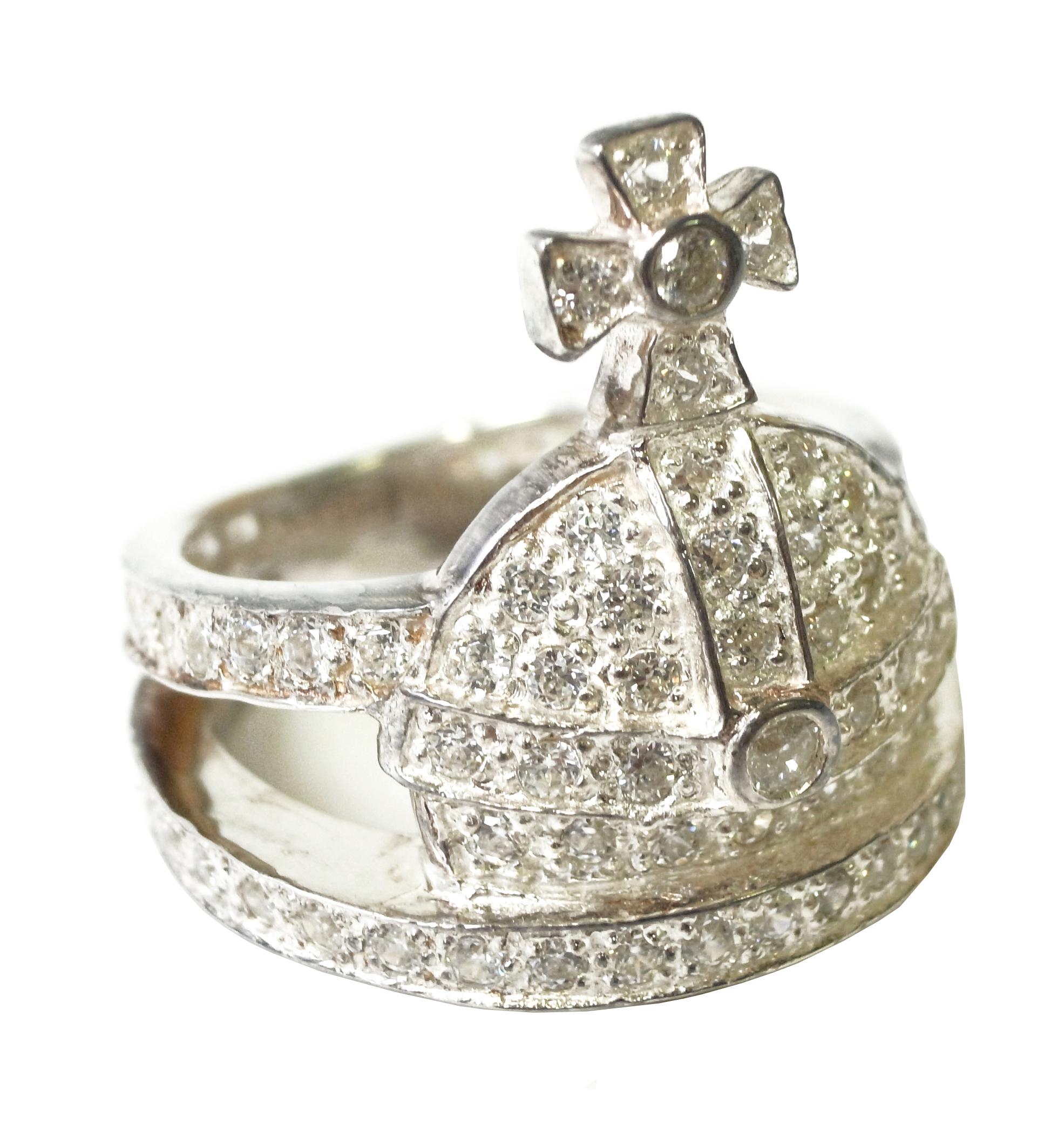1b084bcd6000 ヴィヴィアンウエストウッド リング Mサイズ(約15号) Orb Ring Silver White CZ Silversterling Siver  Plating