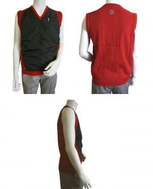 No.6 ベスト ゴルフ (レッド + ブラック) Lサイズ  メンズ エンポリオアルマーニ EA7