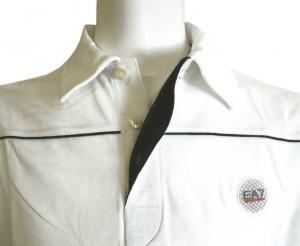 No.4 長袖 ポロシャツ ホワイト ゴルフ Mサイズ エンポリオアルマーニ EA7