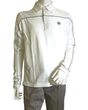 No.5 長袖 ポロシャツ ホワイト ゴルフ Mサイズ エンポリオアルマーニ EA7