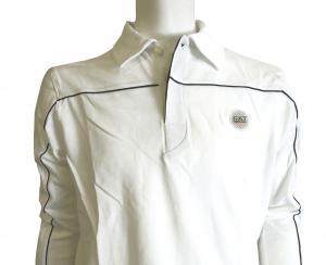 No.9 長袖 ポロシャツ ホワイト ゴルフ Mサイズ エンポリオアルマーニ EA7