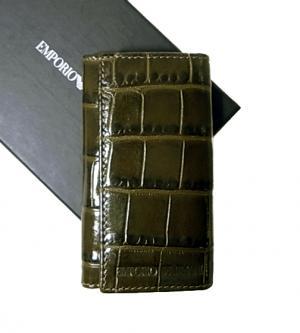 エンポリオアルマーニ キーケース グリーン 6連 メンズ クロコ型押しレザー