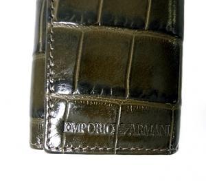 No.3 キーケース グリーン 6連 メンズ クロコ型押しレザー エンポリオアルマーニ