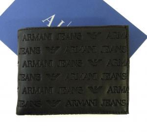 アルマーニジーンズ 財布 メンズ  二つ折(ブラック)