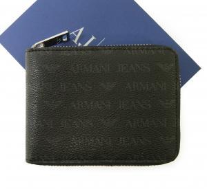 アルマーニジーンズ  財布 メンズ ラウンドファスナー (ブラック)