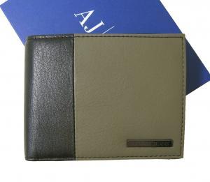 アルマーニジーンズ 財布 メンズ  三つ開き メッシュ ポケット 付き バイカラー