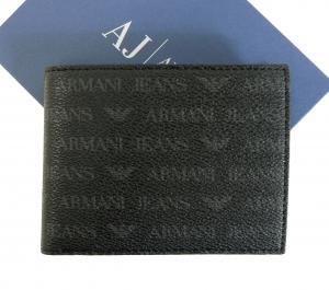 アルマーニジーンズ 財布 メンズ  三つ開き メッシュポケット付き (ブラック)