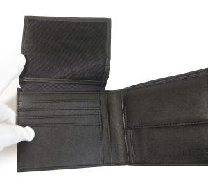 No.7 財布 メンズ ジーンズ 三つ開き メッシュポケット付き (ブラック)