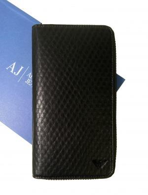 アルマーニジーンズ 特価  長財布 メンズ ラウンドファスナー (ブラック)
