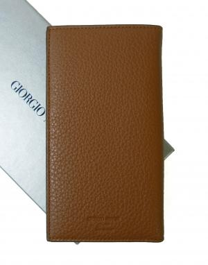 ジョルジオアルマーニ 長財布  二つ折 メンズ(レザーブラウン)