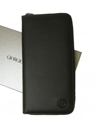 ジョルジオアルマーニ 長財布  ラウンド (ブラック)*大きめサイズ