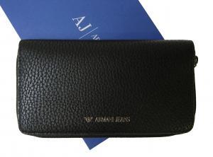 アルマーニジーンズ  長財布 メンズ ラウンドファスナー (ブラック)