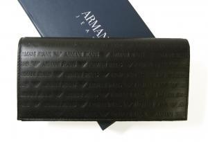 アルマーニジーンズ  長財布 二つ折 レザー メンズ (ブラック)