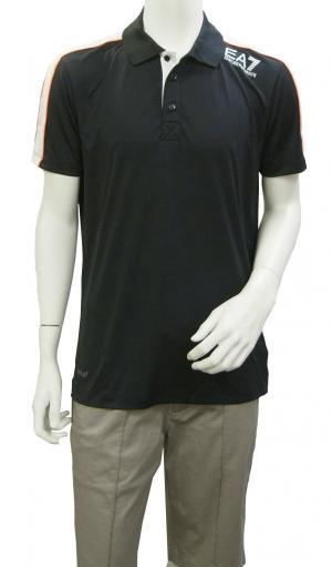 No.4 ポロシャツ 黒に近いブルー メンズ ゴルフ XLサイズ エンポリオアルマーニ EA7