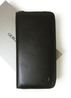 ジョルジオアルマーニ 長財布 ラウンドファスナー(ブラック)*大きめサイズ