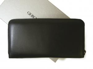 No.2 長財布 ラウンドファスナー(ブラック)*大きめサイズ ジョルジオアルマーニ