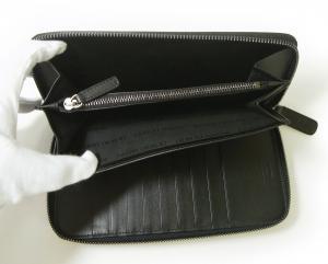 No.6 長財布 ラウンドファスナー(ブラック)*大きめサイズ ジョルジオアルマーニ