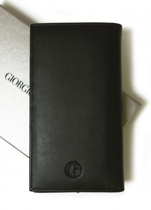 ジョルジオアルマーニ 長財布  メンズ 二つ折 (ブラック)