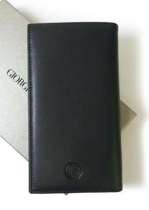 ジョルジオアルマーニ 長財布  メンズ 二つ折 (ミッドナイトブルー)