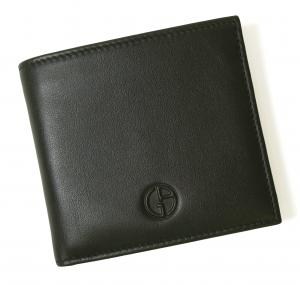 No.7 財布 ジョルジオアルマーニ メンズ 二つ折 (ブラック)