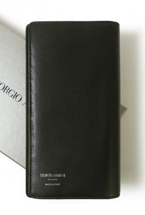 ジョルジオアルマーニ 長財布  メンズ 二つ折 (ブラック×ダークタン)