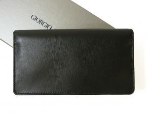 No.2 長財布 ジョルジオアルマーニ メンズ 二つ折 (ブラック×ダークタン)