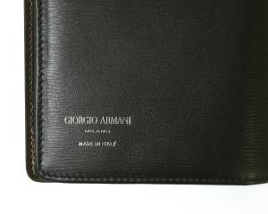 No.3 長財布 ジョルジオアルマーニ メンズ 二つ折 (ブラック×ダークタン)