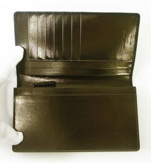 No.5 長財布 ジョルジオアルマーニ メンズ 二つ折 (ブラック×ダークタン)