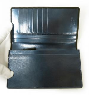 No.5 長財布 ジョルジオアルマーニ 二つ折 (ブラック×ブルー)
