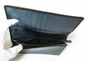 No.7 長財布 ジョルジオアルマーニ メンズ 二つ折 (ブラック×ブルー)