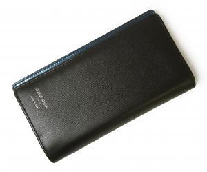 No.8 長財布 ジョルジオアルマーニ 二つ折 (ブラック×ブルー)