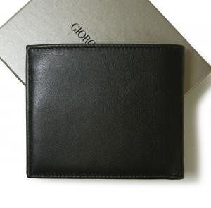 No.2 財布 札入れ ジョルジオアルマーニ メンズ 二つ折(ブラック)*小銭入れなし
