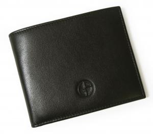 No.6 財布 札入れ ジョルジオアルマーニ メンズ 二つ折(ブラック)*小銭入れなし