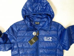 No.3 ダウン ジャケット フード ライトダウン Lサイズ エンポリオアルマーニ EA7 (ロイヤルブルー)
