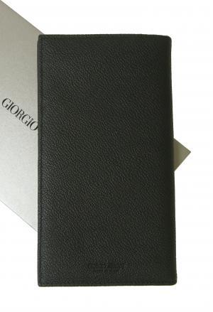 ジョルジオアルマーニ 長財布 メンズ 本革  二つ折 (ブラック)