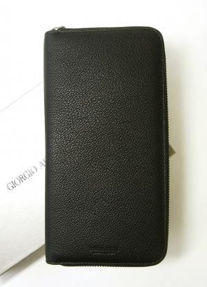 ジョルジオアルマーニ 長財布 メンズ 本革  ラウンド (ブラック)*大きめサイズ