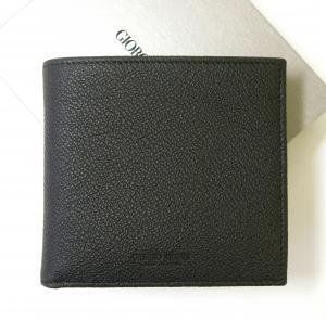 ジョルジオアルマーニ 財布 メンズ 本革  二つ折(ブラック)