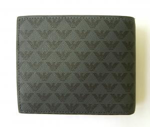 No.2 財布 メンズ ブラック 二つ折 ロゴ エンポリオアルマーニ
