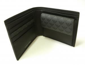 No.4 財布 メンズ ブラック 二つ折 ロゴ エンポリオアルマーニ