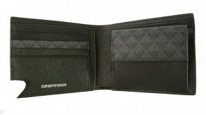 No.5 財布 メンズ ブラック 二つ折 ロゴ エンポリオアルマーニ