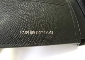 No.6 財布 メンズ ブラック 二つ折 ロゴ エンポリオアルマーニ