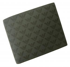 No.9 財布 メンズ ブラック 二つ折 ロゴ エンポリオアルマーニ
