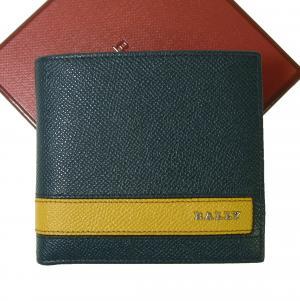 バリー 財布 二つ折 型押しカーフ (ブルー)×(イエロー) LYITE.L/35