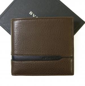ブルガリ 財布 二つ折 グレインカーフ メンズ ダークブラウン オクト