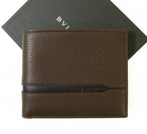 ブルガリ 財布 札入れ グレインカーフ オクト ダークブラウン 二つ折 *小銭入れなし