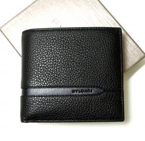 ブルガリ 財布 二つ折 グレインカーフ メンズ ブラック オクト
