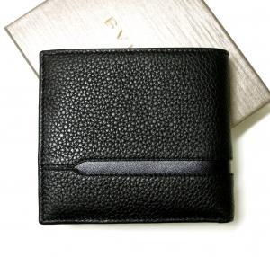 No.2 財布 二つ折 グレインカーフ メンズ ブラック オクト