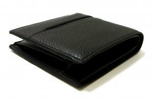 No.3 財布 二つ折 グレインカーフ メンズ ブラック オクト