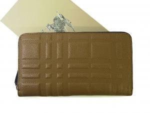 バーバリー 長財布 メンズ ロンドンレザー エンボスチェック *大きめサイズ