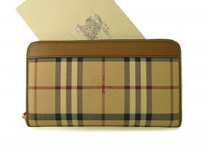 バーバリー 長財布 ラウンドファスナー ホースフェリーチェック ブラウン *大きめサイズ